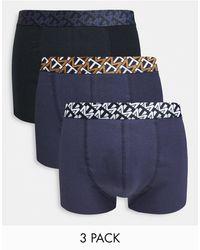 TOPMAN 3 Pack Print Waistband Trunks - Blue