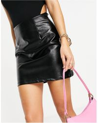 Naanaa High Waisted Faux Leather Skirt - Black