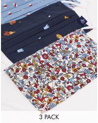 Original Penguin – 3er-Pack Mund-Nasen-Schutz mit mehrfarbigem Camping-, Bäume- und Blumenmuster - Blau
