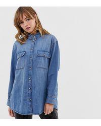 Monki Oversized Denim Shirt - Blue