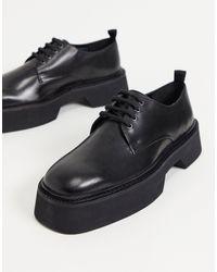 ASOS Lace Up Square Toe Shoes - Black