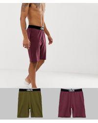 ASOS Voordeelset Van 2 Pyjama-loungeshorts - Rood