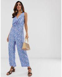 Y.A.S Culotte-jumpsuit Met V-hals En Print - Blauw