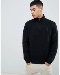 70782e4bd2e Polo Ralph Lauren - Pull en tricot de coton demi-fermeture clair avec logo  joueur