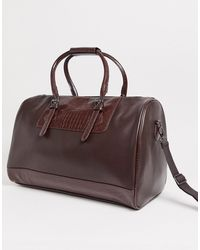 ASOS Faux Leather Holdall In Brown Croc Emboss