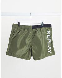 Replay Back Logo Swim Shorts - Green