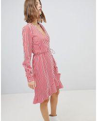 Vero Moda - Stripe Mini Wrap Dress In Red - Lyst