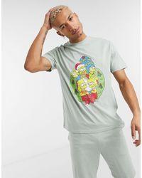 ASOS Новогодний Пижамный Комплект Для Дома Из Выбеленной Футболки И Шорт С Принтом Симпсонов - Зеленый