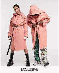 Collusion Unisex Oversized Utiliy Parka - Pink