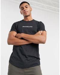 Abercrombie & Fitch Chest Box Logo Curved Hem T-shirt - Black