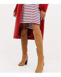 River Island Over The Knee Heeled Boots In Tan - Black