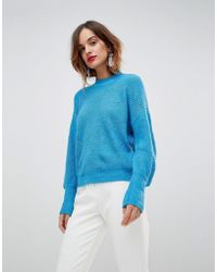 Y.A.S Knitted Sweater With Balloon Sleeve - Blue