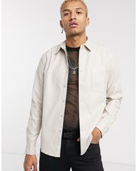 ASOS Regular Fit Faux Leather Shirt - Natural