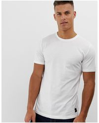 Only & Sons Longline Curved Hem T-shirt - White
