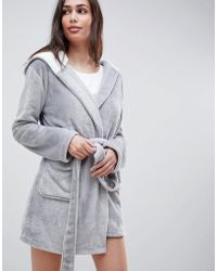 ASOS - Supersoft Fleece Mini Robe With Contrast Lining - Lyst