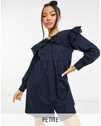 Y.A.S Petite - Vestito corto blu navy con colletto alla Peter Pan - Lyst