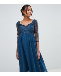 Chi Chi London Lace Sleeve Midi Dress In Green
