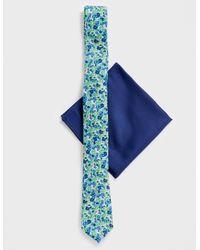 ASOS Cravate fine et pochette pour mariage - Fleurs et bleu marine