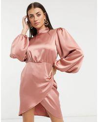 Flounce London High Neck Lantern Sleeve Drape Mini Dress - Pink