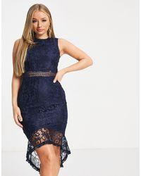 AX Paris Lace Peplum Hem Midi Dress - Blue