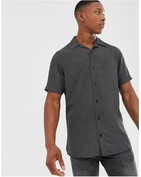 Jack & Jones Premium - Overhemd Met Korte Mouwen, Reverskraag En Print - Zwart
