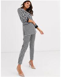 ASOS Mono Dogstooth Slim Suit Pants-multi - Multicolour