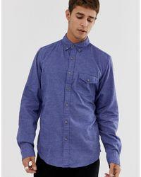 J.Crew Mercantile Camisa de corte slim azul marino de sarga cepillada con diseño abotonado de