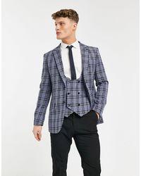 Original Penguin Checked Slim Fit Suit Jacket - Blue