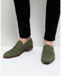 Dune - Penny Loafers In Green Nubuck - Lyst