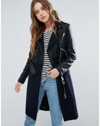 French Connection - Idol Belted Contrast Wool Pu Biker Trench - Lyst
