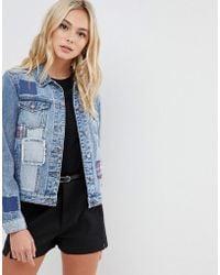 fa1457440edc0 Urban Bliss Lace Up Denim Jacket in Blue - Lyst