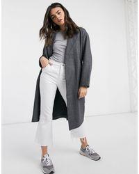 Vero Moda Темно-серое Классическое Пальто С Поясом На Талии -серый