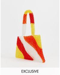 Glamorous Exclusive Stripe Beaded Mini Grab Bag - Red
