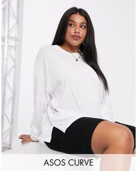 ASOS Asos Design Curve Oversized Long Sleeve T-shirt With Cuff Detail - White