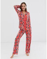 Chelsea Peers Pyjama long à rayures motifs panda et bambou avec col à revers - Rouge