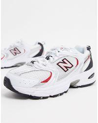 New Balance Белые Кроссовки С Серебристыми И Красными Вставками 530-белый