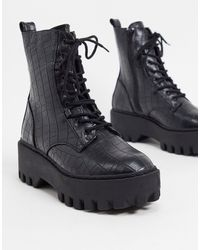 Truffle Collection Chunky Lace Up Boots - Black