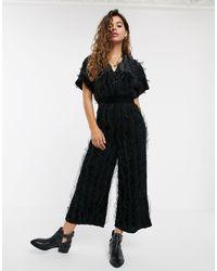 Moon River Mesh Ruffle Velvet Jumpsuit - Black