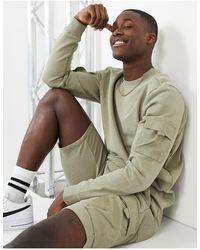 Only & Sons Sweat-shirt cargo d'ensemble en coton biologique - Vert