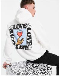 """New Love Club Sudadera blanca con capucha y estampado """"love"""" - Blanco"""