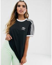 adidas Originals - Черная Футболка С Тремя Полосками Adicolor-черный - Lyst