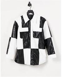 & Other Stories Черно-белая Рубашка Навыпуск Из Искусственной Кожи В Стиле Колор Блок -нейтральный - Естественный