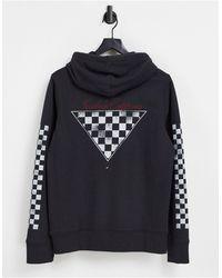 Hollister Felpa con cappuccio nera con maniche a scacchi e logo centrale - Nero