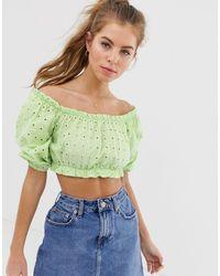 Pull&Bear Broderie Short Sleeved Top - Green