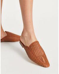 London Rebel Woven Mule Shoes - Brown