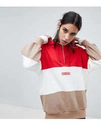 NA-KD Colour Block Oversized Logo Hoodie - Red