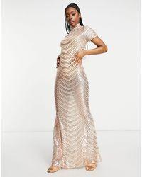 Club L London Rose Gold Striped Sequin High Neck Fishtail Maxi Dress - Metallic