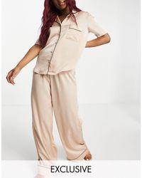 Missguided Серовато-бежевая Атласная Пижама С Рубашкой С Короткими Рукавами -белый - Естественный