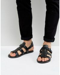ASOS - Sandals In Black Leather With Studs - Lyst