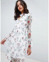 Vila Floral Printed Tulle Mini Dress - Multicolour